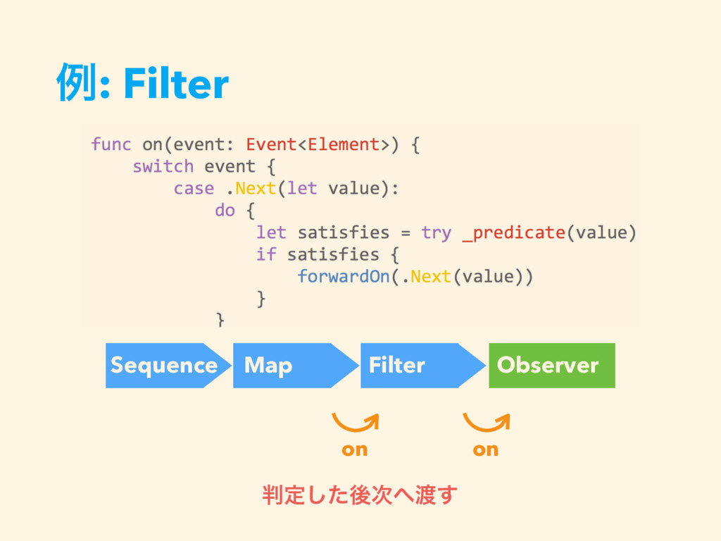 ྫ: Filter Sequence Map Filter Observer on on ൑ఆ...