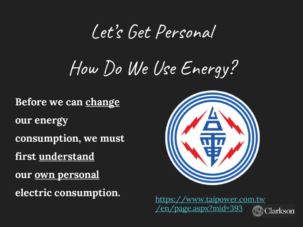 Let's Get Personal How Do We Use Energy? Before...