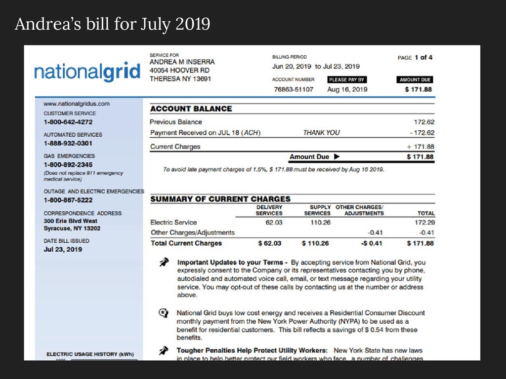 Andrea's bill for July 2019