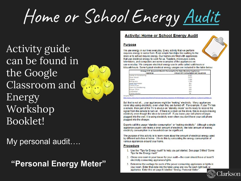 Home or School Energy Audit My personal audit…....