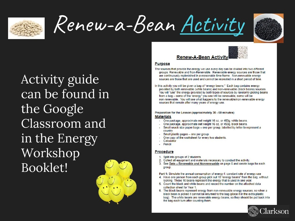 Renew-a-Bean Activity Activity guide can be fou...