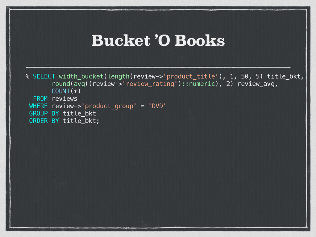 Bucket 'O Books % SELECT width_bucket(length(re...