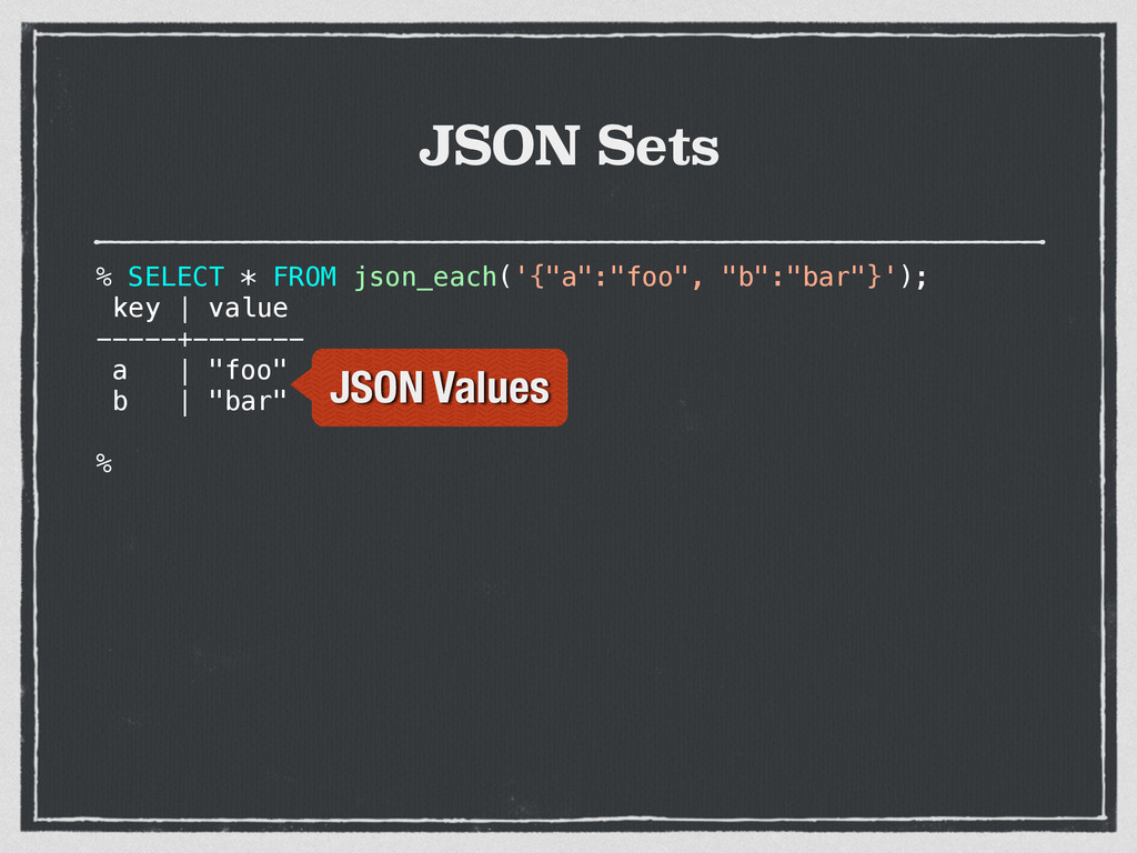 "JSON Sets % SELECT * FROM json_each('{""a"":""foo""..."