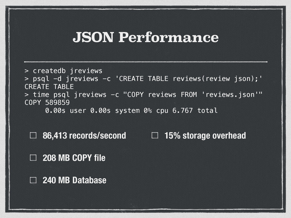 JSON Performance 86,413 records/second 208 MB C...