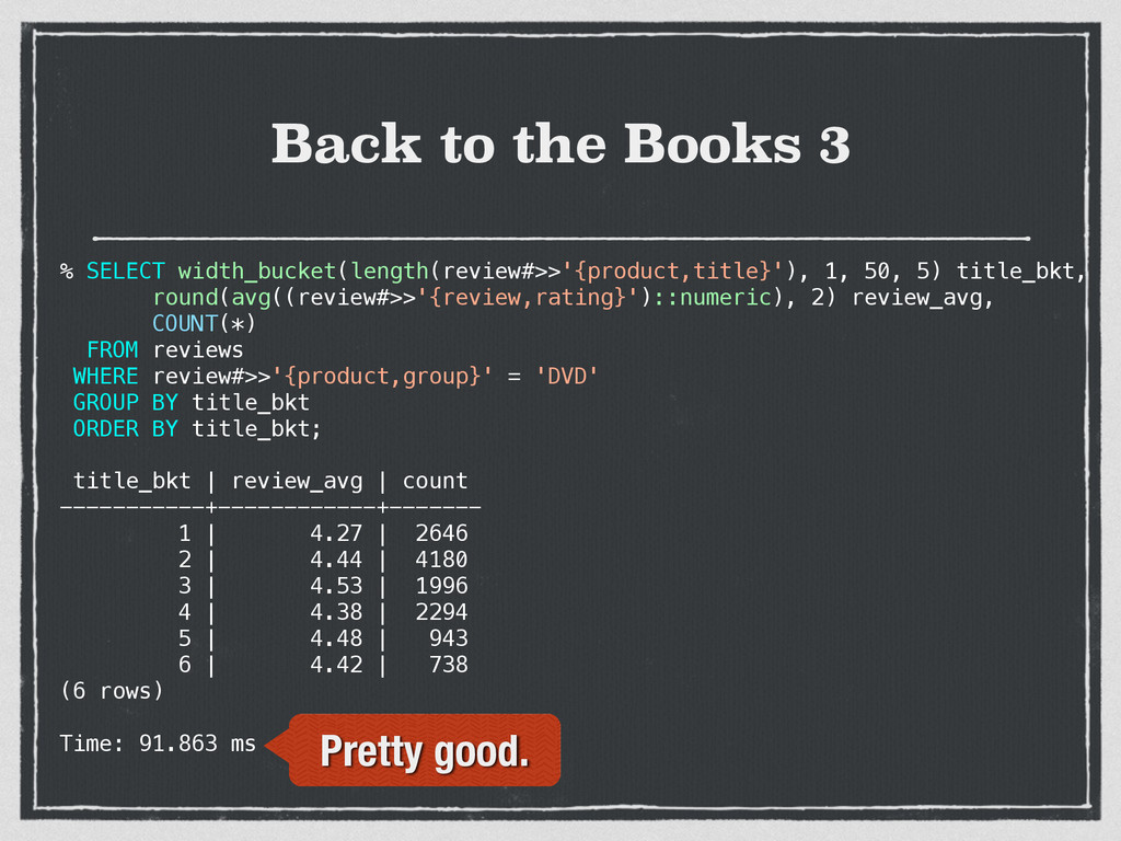 Back to the Books 3 % SELECT width_bucket(lengt...
