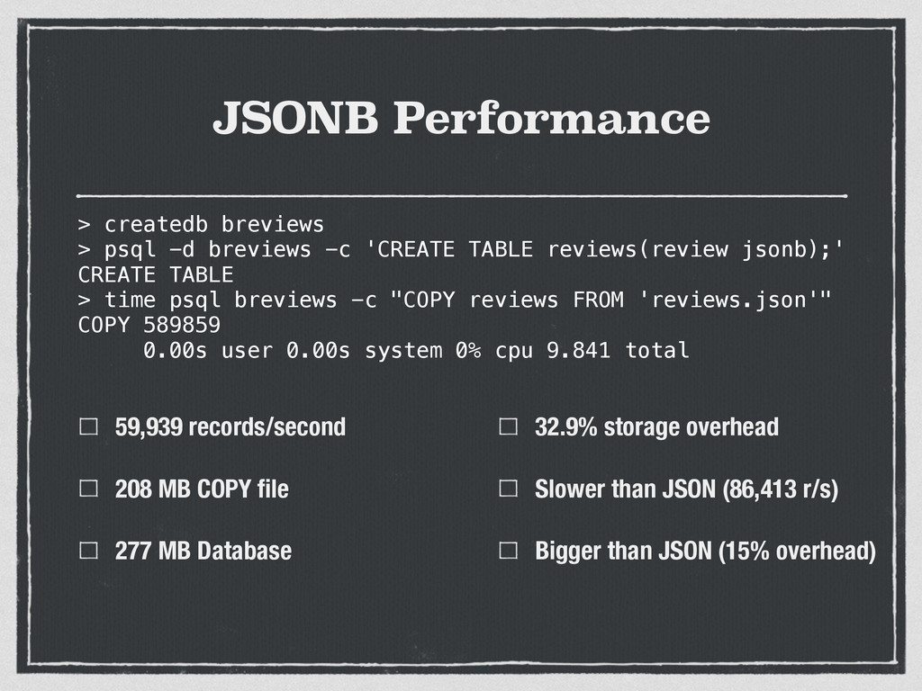 JSONB Performance 59,939 records/second 208 MB ...