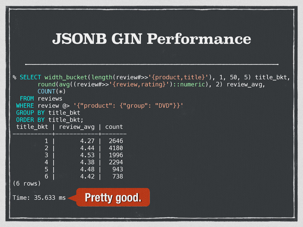 JSONB GIN Performance % SELECT width_bucket(len...