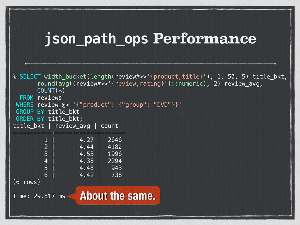 json_path_ops Performance % SELECT width_bucket...