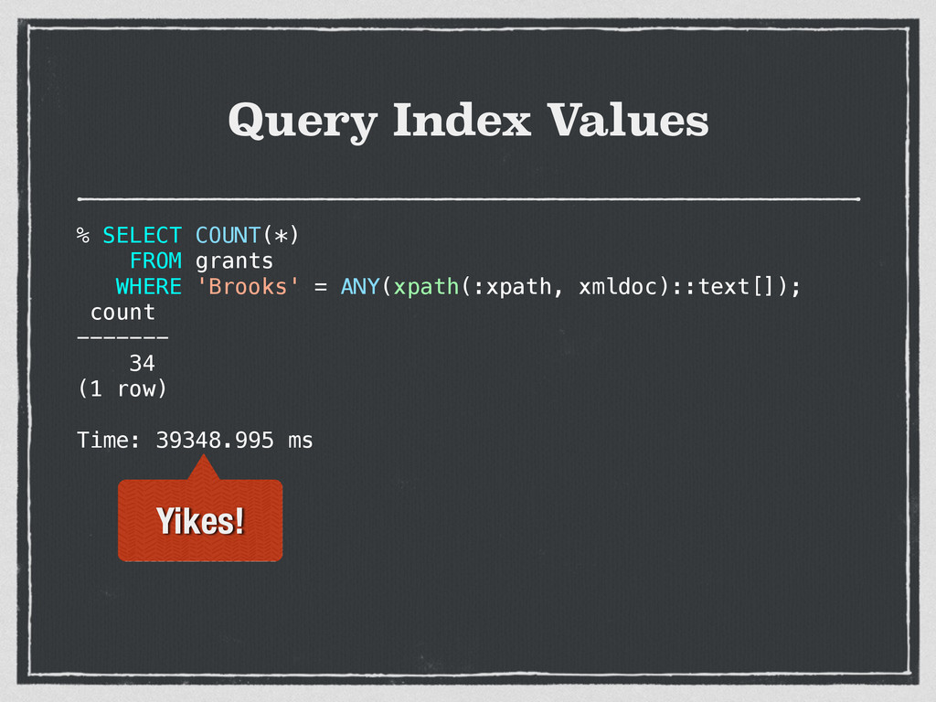 Query Index Values % SELECT COUNT(*) FROM grant...