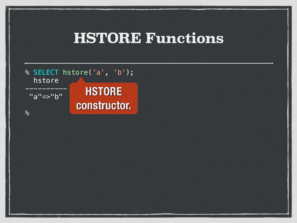"% SELECT hstore('a', 'b'); hstore ---------- ""a..."