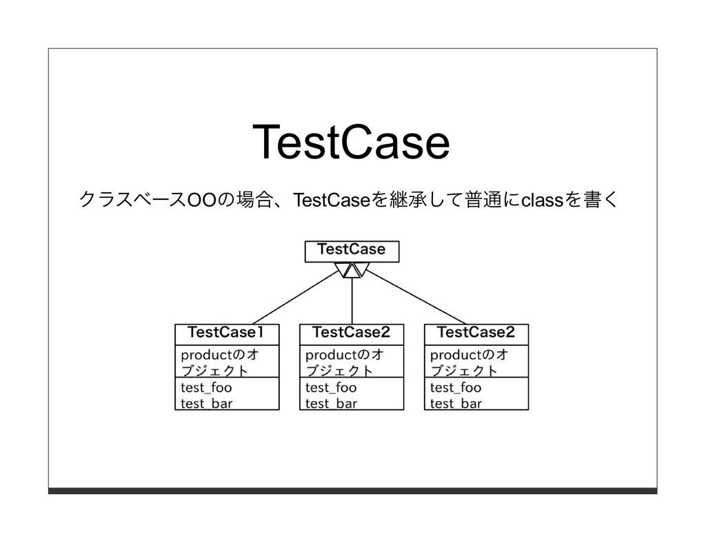 TestCase クラスベースOOの場合、TestCaseを継承して普通にclassを書く
