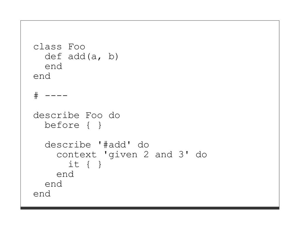 class Foo def add(a, b) end end # ---- describe...