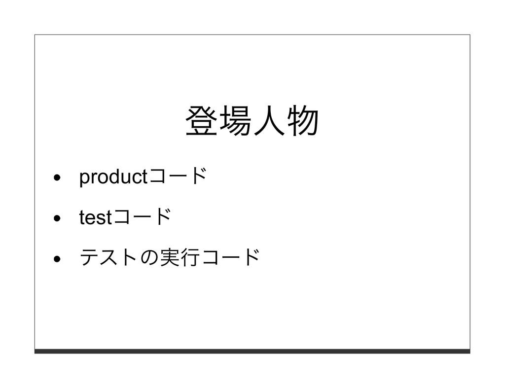 登場⼈物 productコード testコード テストの実⾏コード
