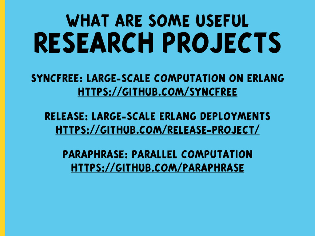 what are some useful RESEARCH PROJECTS syncfree...