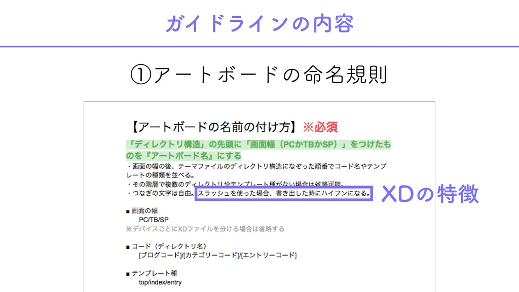 ①アートボードの命名規則 ガイドラインの内容 XDの特徴