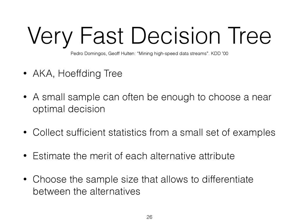 Very Fast Decision Tree • AKA, Hoeffding Tree •...