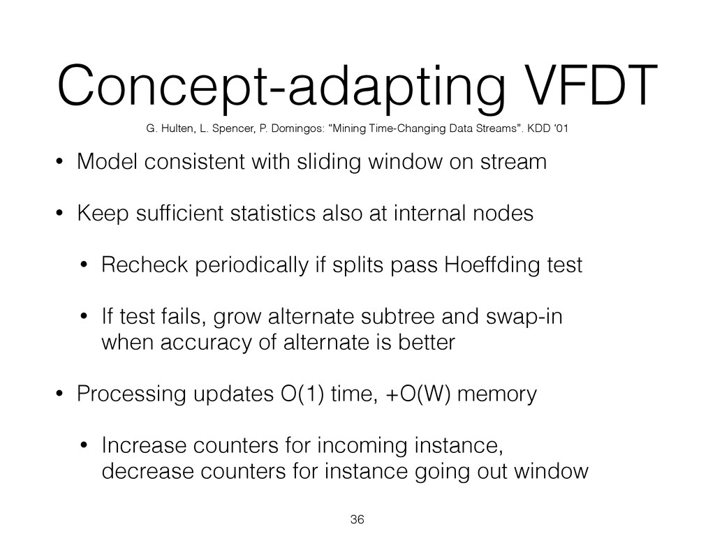 Concept-adapting VFDT • Model consistent with s...