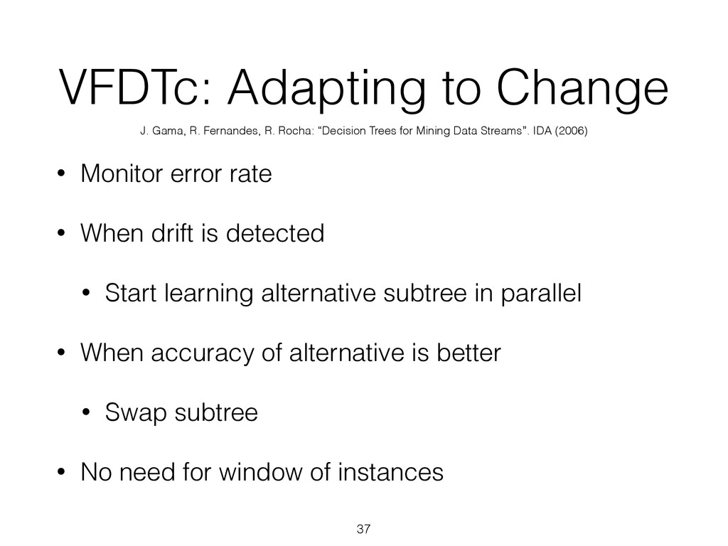 VFDTc: Adapting to Change • Monitor error rate ...