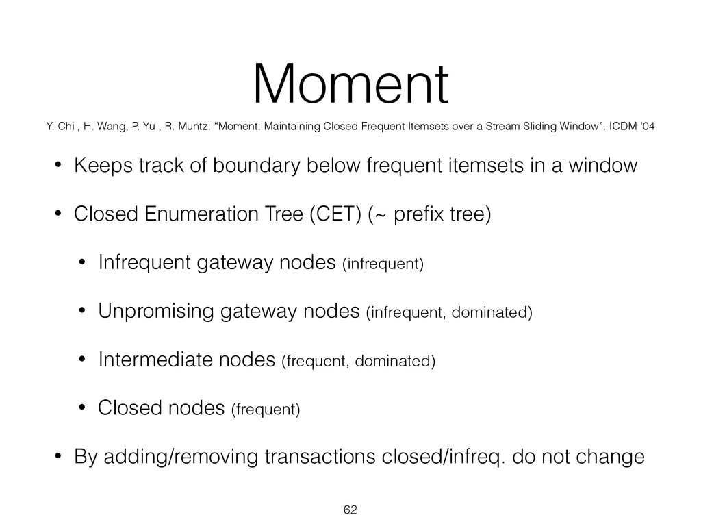 Moment • Keeps track of boundary below frequent...