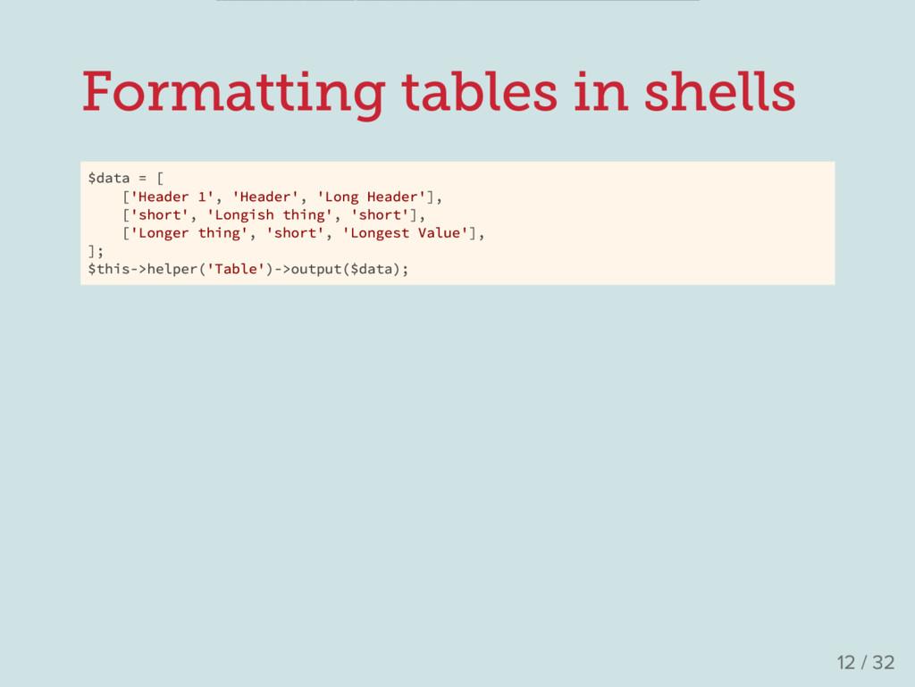 Formatting tables in shells $data = [ ['Header ...