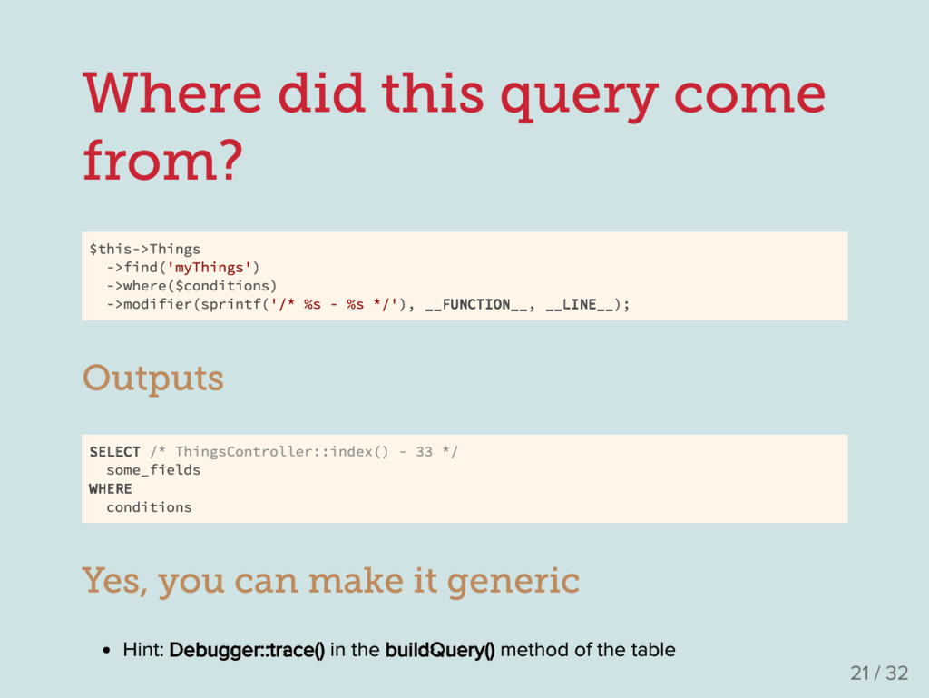 Where did this query come from? $this->Things -...
