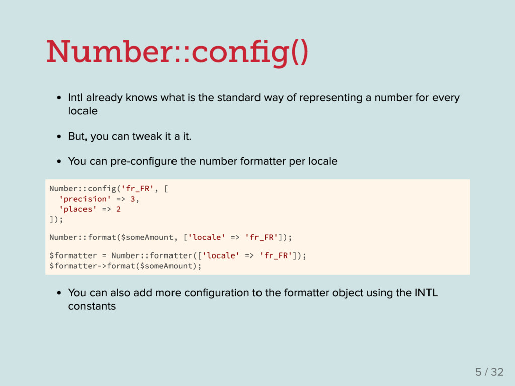 Number::con fig() Intl already knows what is the...