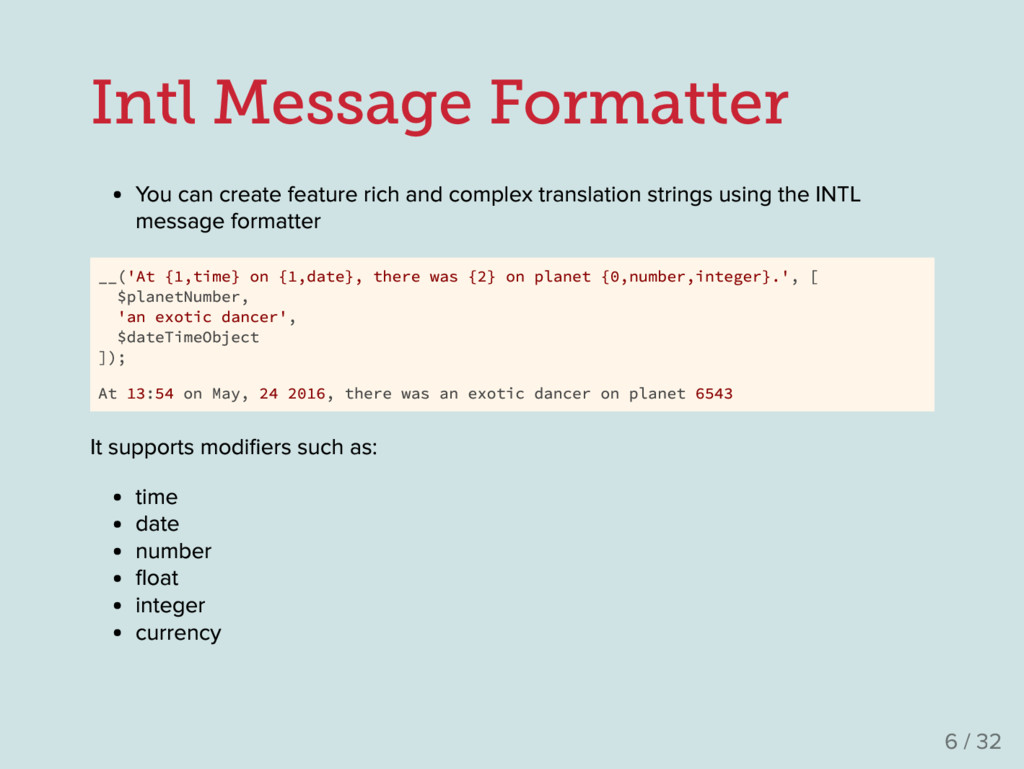 Intl Message Formatter Y ou can create feature ...