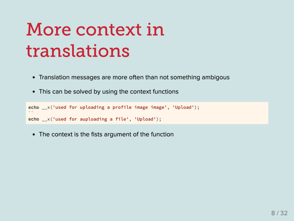 More context in translations Translation messag...