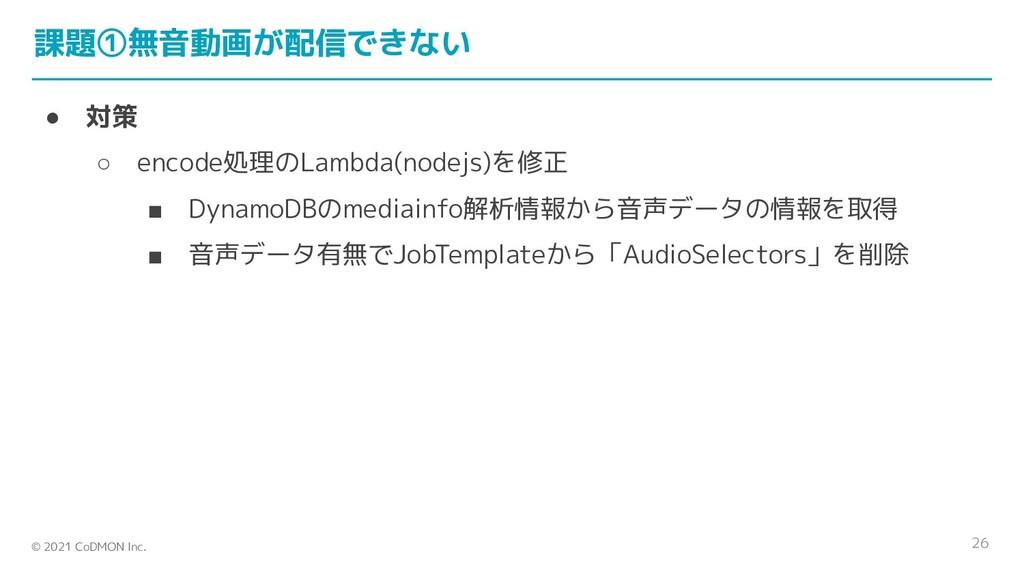 © 2021 CoDMON Inc. 課題①無音動画が配信できない ● 対策 ○ encode...