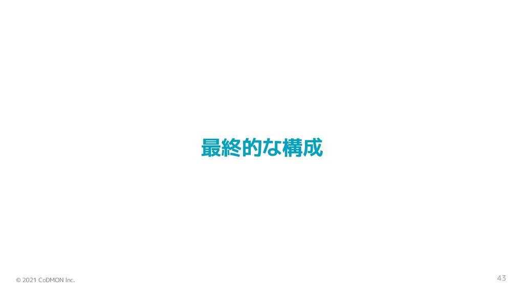 © 2021 CoDMON Inc. 43 最終的な構成