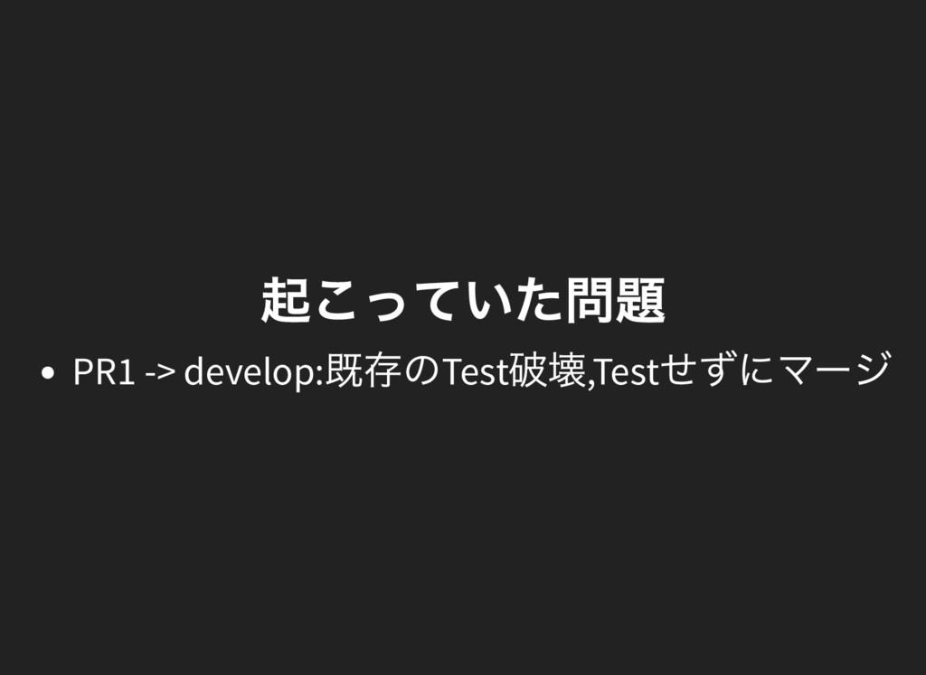 起こっていた問題 PR1 -> develop: 既存のTest 破壊,Test せずにマージ