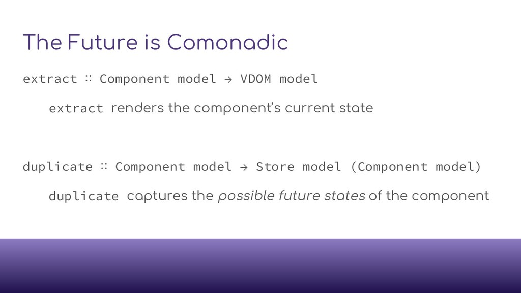The Future is Comonadic extract ∷ Component mod...