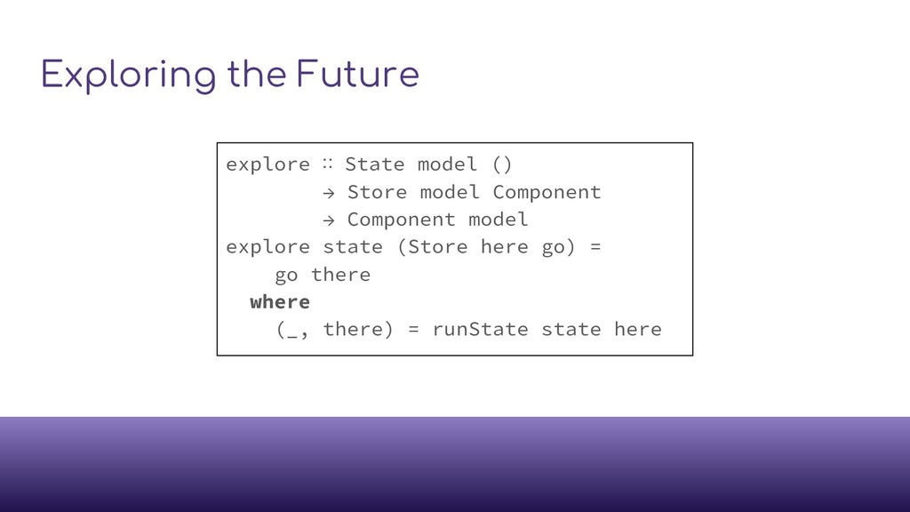 Exploring the Future explore ∷ State model () →...