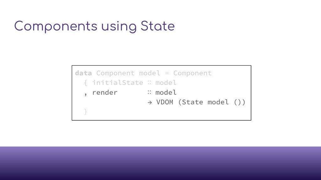 Components using State data Component model = C...