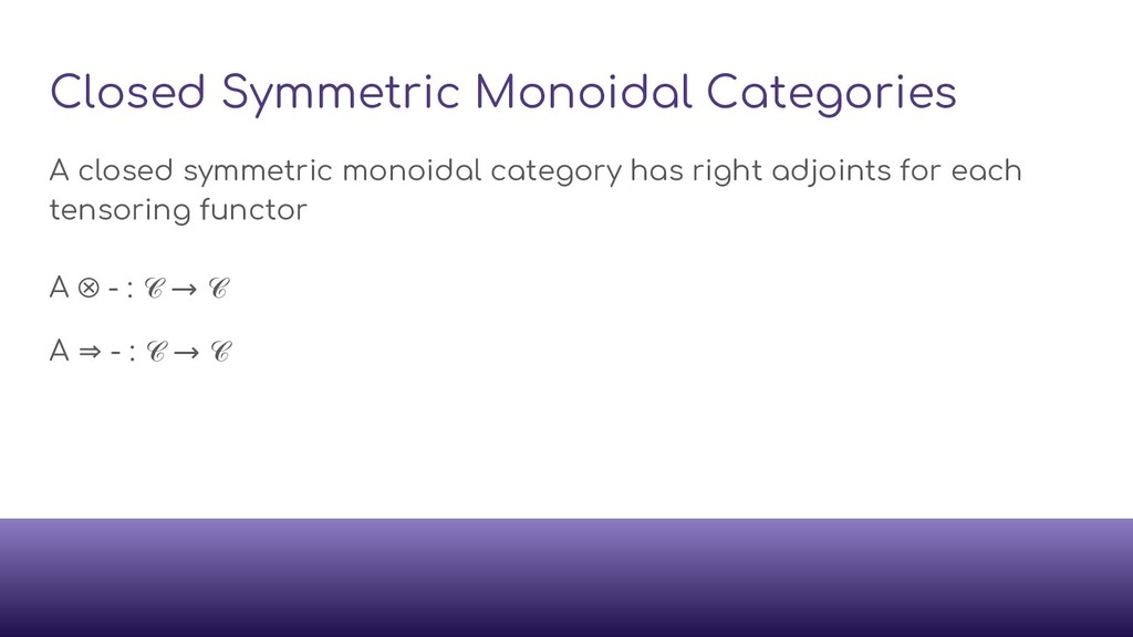 Closed Symmetric Monoidal Categories A closed s...