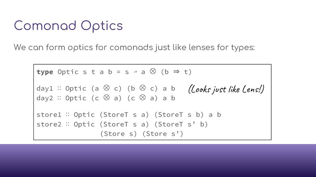 Comonad Optics We can form optics for comonads ...