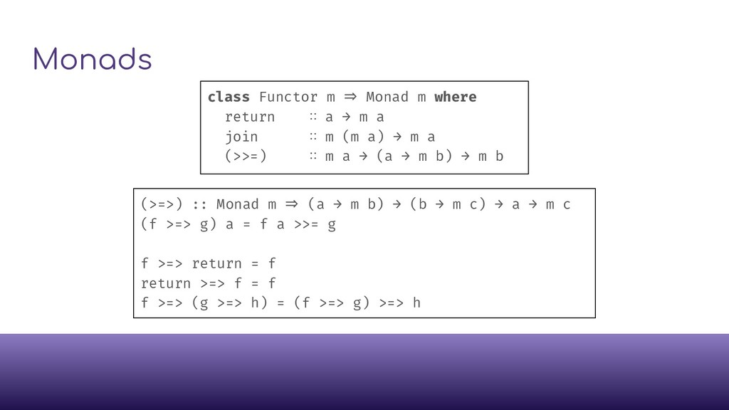 Monads class Functor m ⇒ Monad m where return ∷...