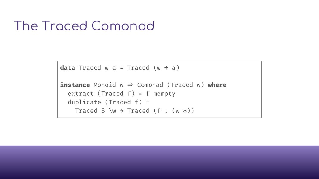 The Traced Comonad data Traced w a = Traced (w ...