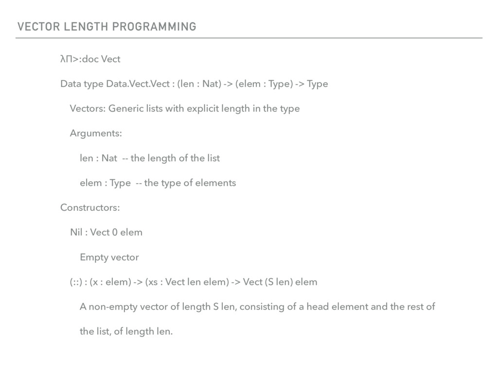 VECTOR LENGTH PROGRAMMING λΠ>:doc Vect Data typ...