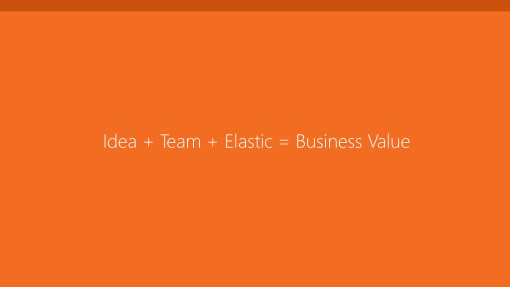 Idea + Team + Elastic = Business Value