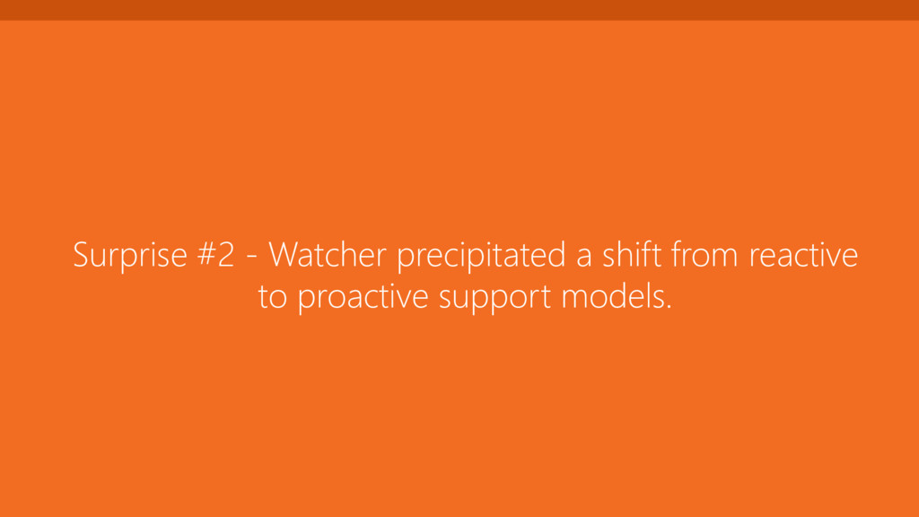 Surprise #2 - Watcher precipitated a shift from...