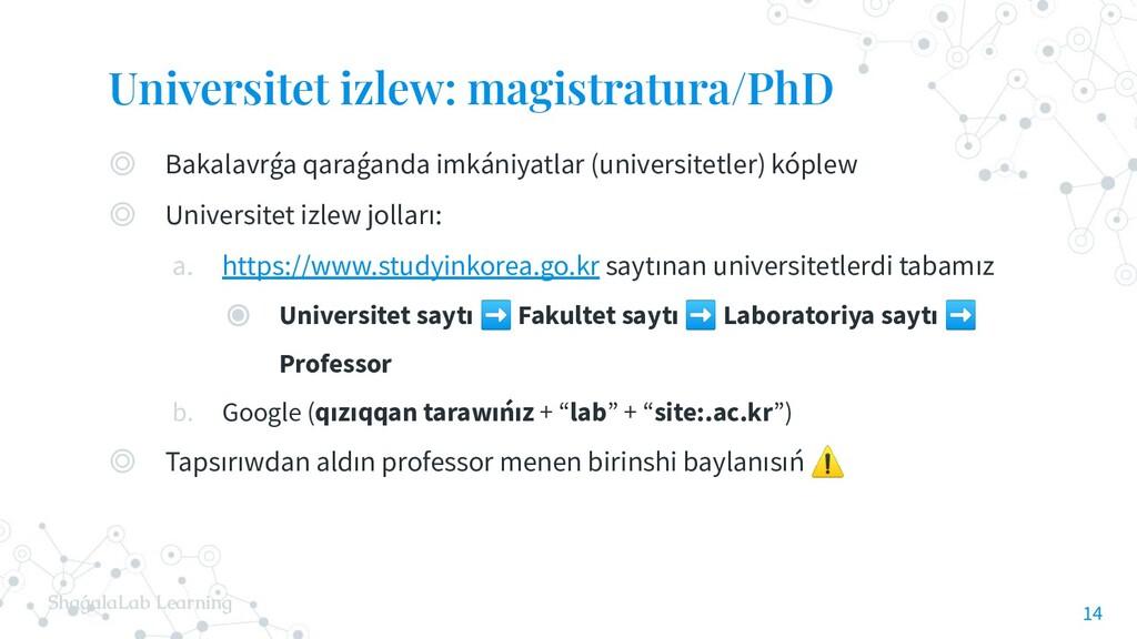 ShaǵalaLab Learning Universitet izlew: magistra...