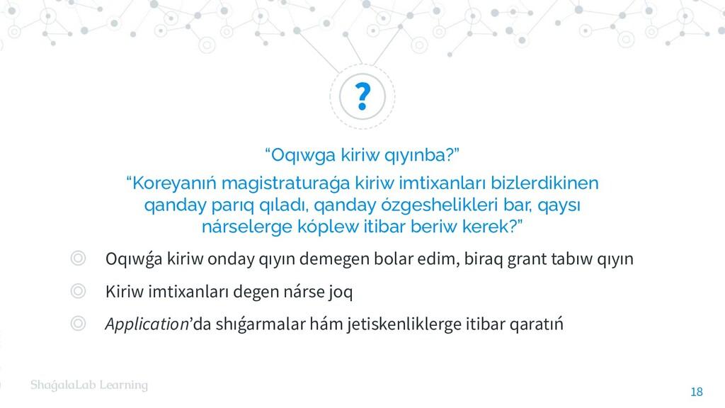 """? ShaǵalaLab Learning """"Oqıwga kiriw qıyınba?"""" """"..."""