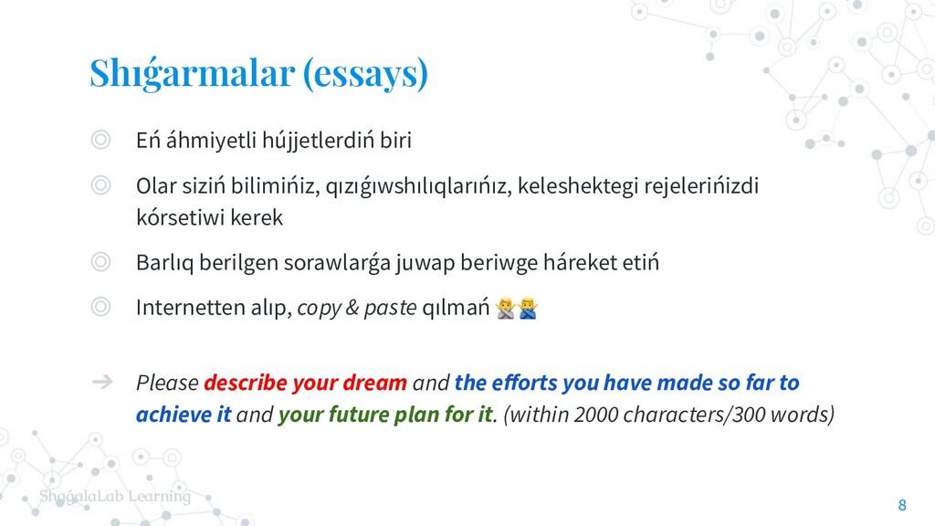 ShaǵalaLab Learning Shıǵarmalar (essays) ◎ Eń á...
