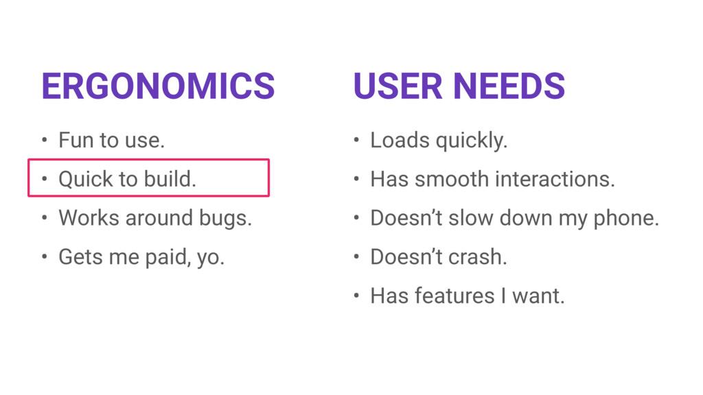 ERGONOMICS USER NEEDS • Fun to use. • Quick to ...