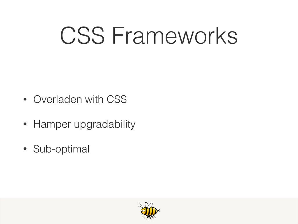 CSS Frameworks • Overladen with CSS • Hamper up...