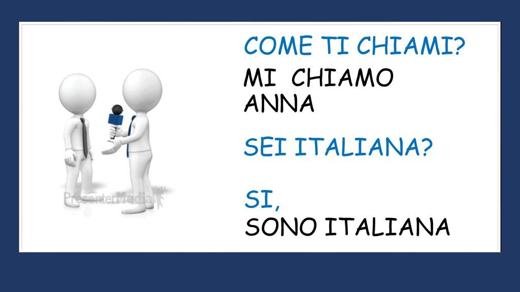 MI CHIAMO ANNA COME TI CHIAMI? SEI ITALIANA? SO...