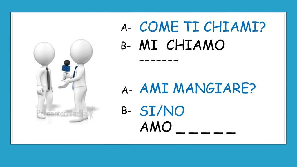 MI CHIAMO ------- COME TI CHIAMI? AMI MANGIARE?...
