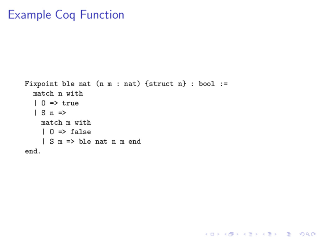Example Coq Function Fixpoint ble nat (n m : na...