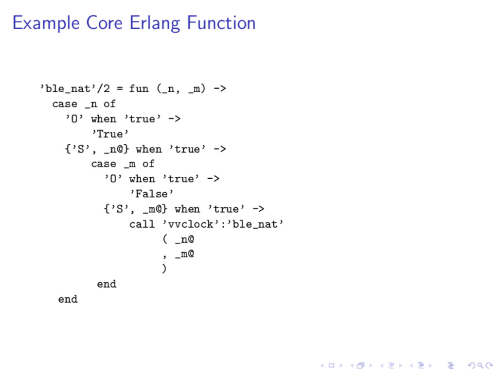 Example Core Erlang Function 'ble_nat'/2 = fun ...